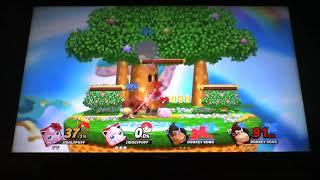 The Crmsn W- (Jpuff) and LivinLL- (Jigglypuff) vs. two LV. 9 D.K.'s. Duo-puff Teamwork!