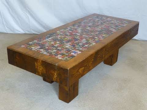 Bottle Cap Resin Top and Reclaimed Wood Table