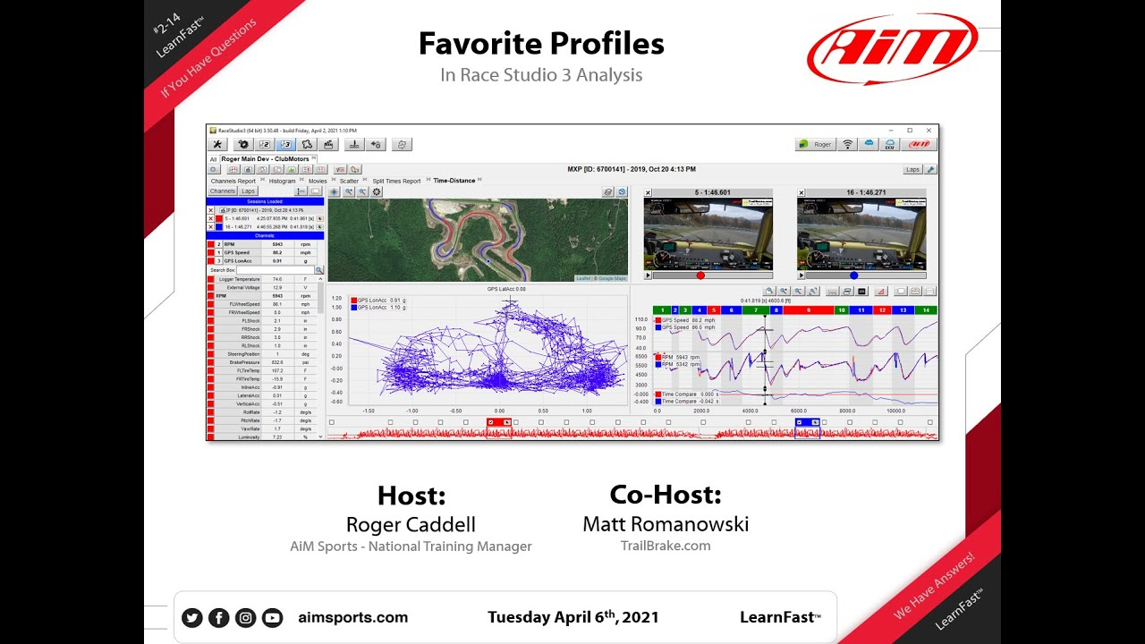 Download Favorite Profiles in Race Studio 3 Analysis - Live Webinar with Matt Romanowski