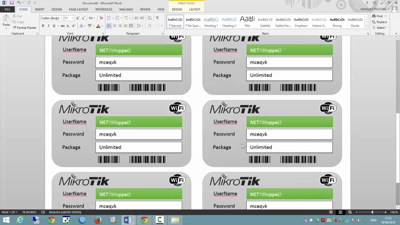 Mikrotik with Microsoft Word Internet Ticket by Amnuay Pintong - YouTube
