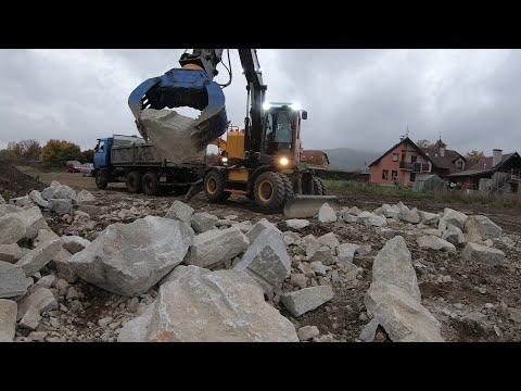 Construction Of Stone Slope / Výstavba Záhozu / Volvo EWR 150E & Tatra 815 & JCB JS 210 / 4K