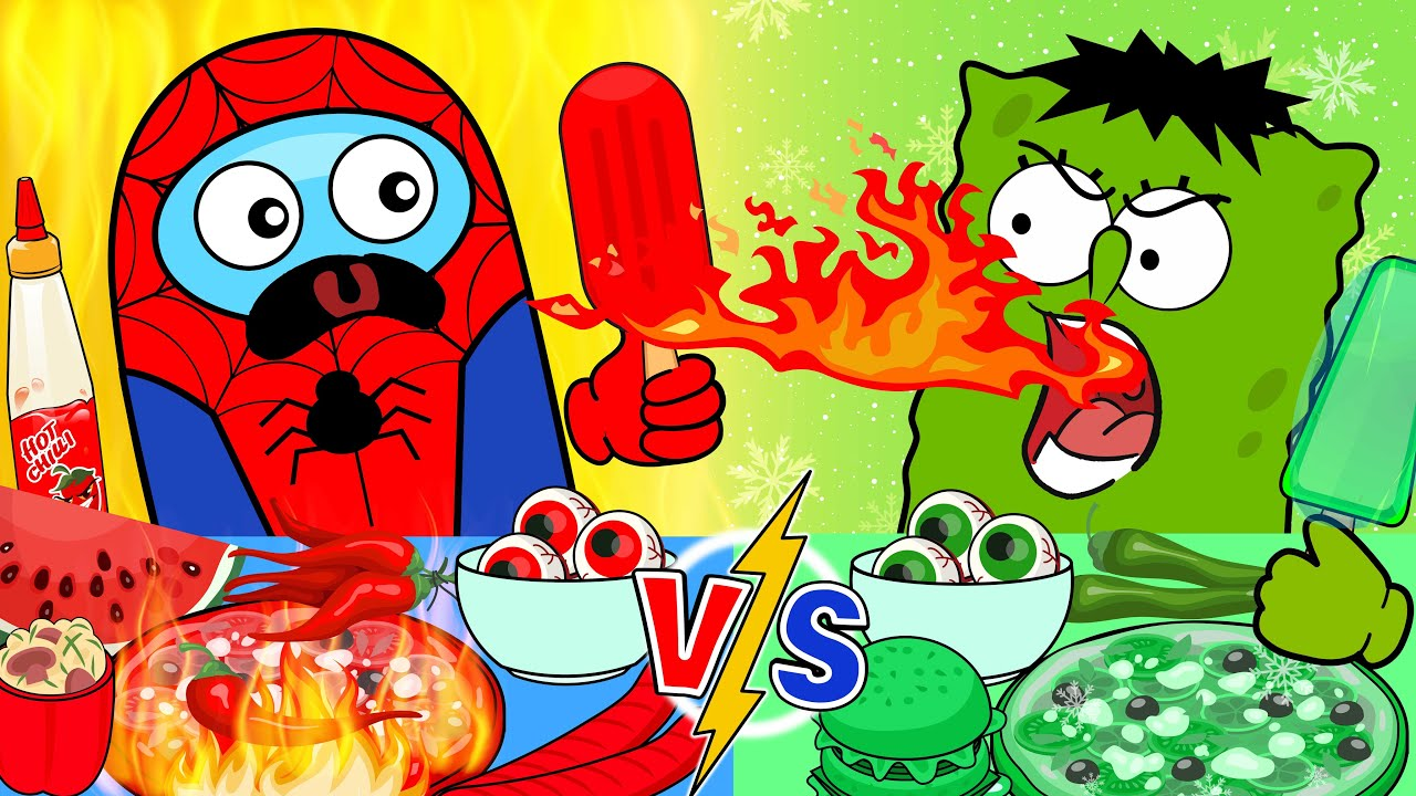 [DIY] Spongebob vs Among Us MUKBANG! Red Food OR Green Food? Stop Motion Handmade Papercrafts