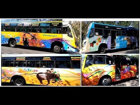Indian Private Mofussil Buses with Fabulous Body Paint Art Job - Decals ART