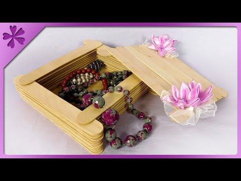 DIY Wooden jewelry box 💍 with ribbon flowers (ENG Subtitles) - Speed up #624