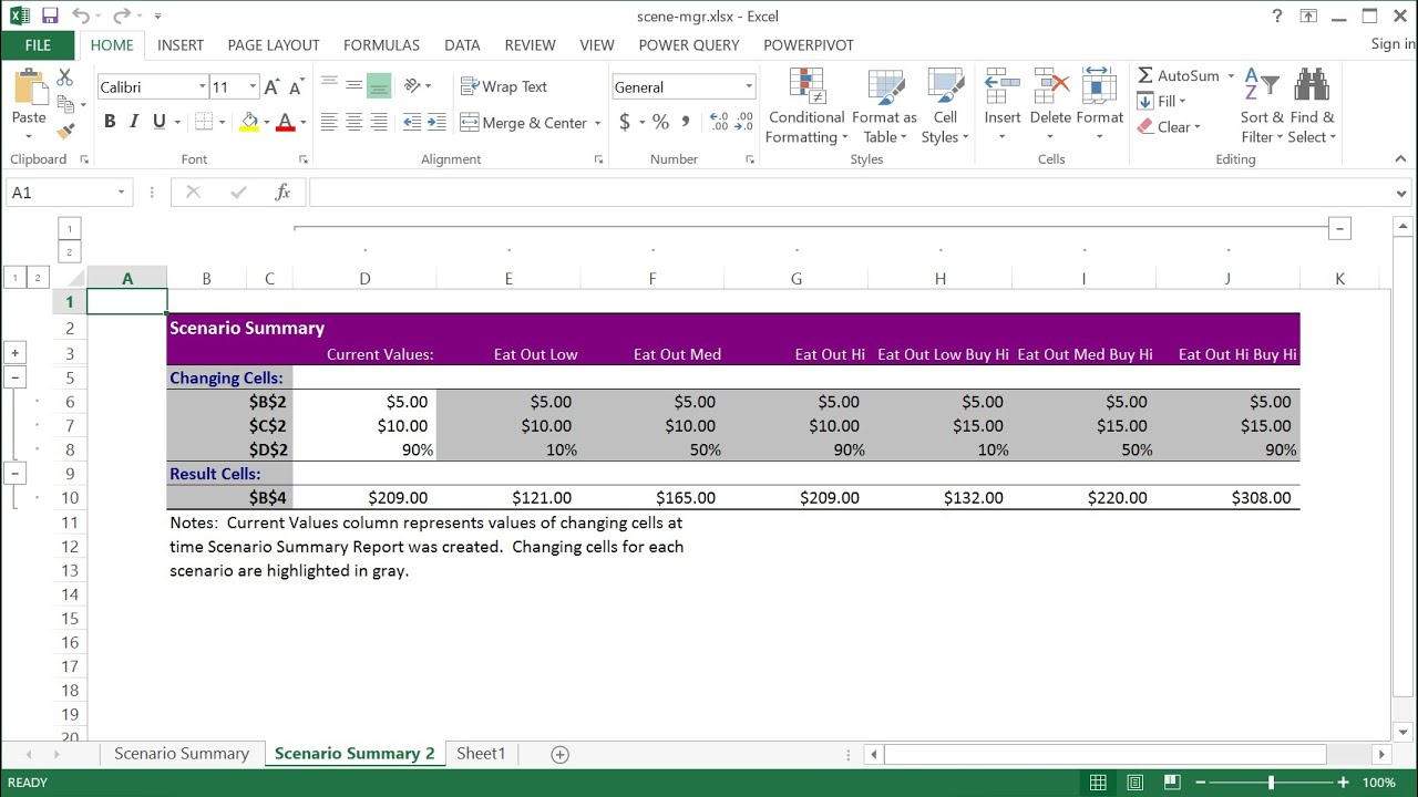 How to Use Excel Scenario Manager - YouTube