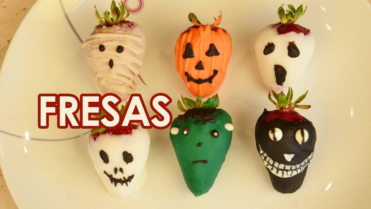 Fresas cubiertas de chocolate para HALLOWEEN o DIA DE MUERTOS - YouTube
