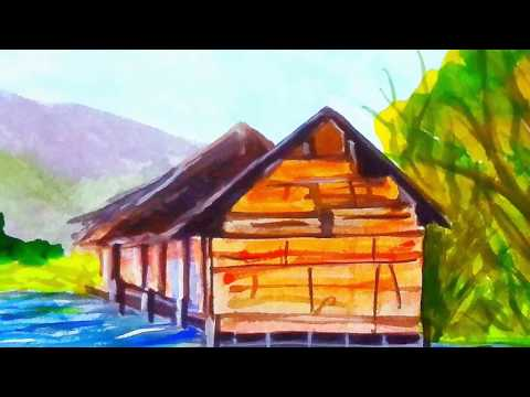 Simple landscape tutorial in watercolour step by step video for beginners