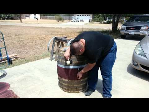 Removing the hoops from a barrel