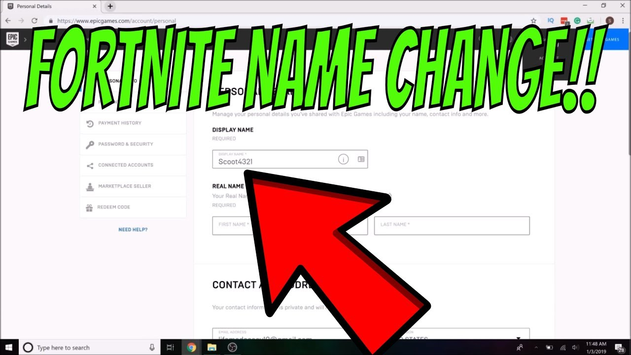 Fortnite- HOW TO CHANGE YOUR DISPLAY NAME ON PC: EPIC ...