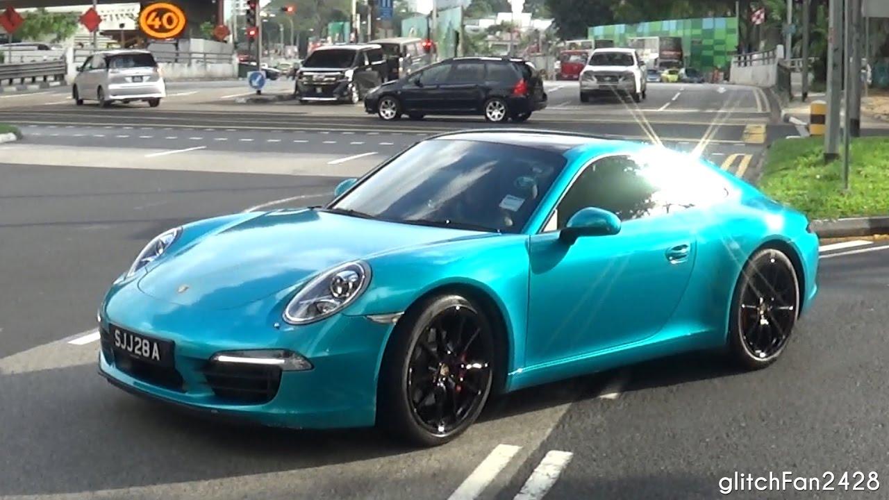 Metallic Turquoise Porsche 911 (991) Drive By