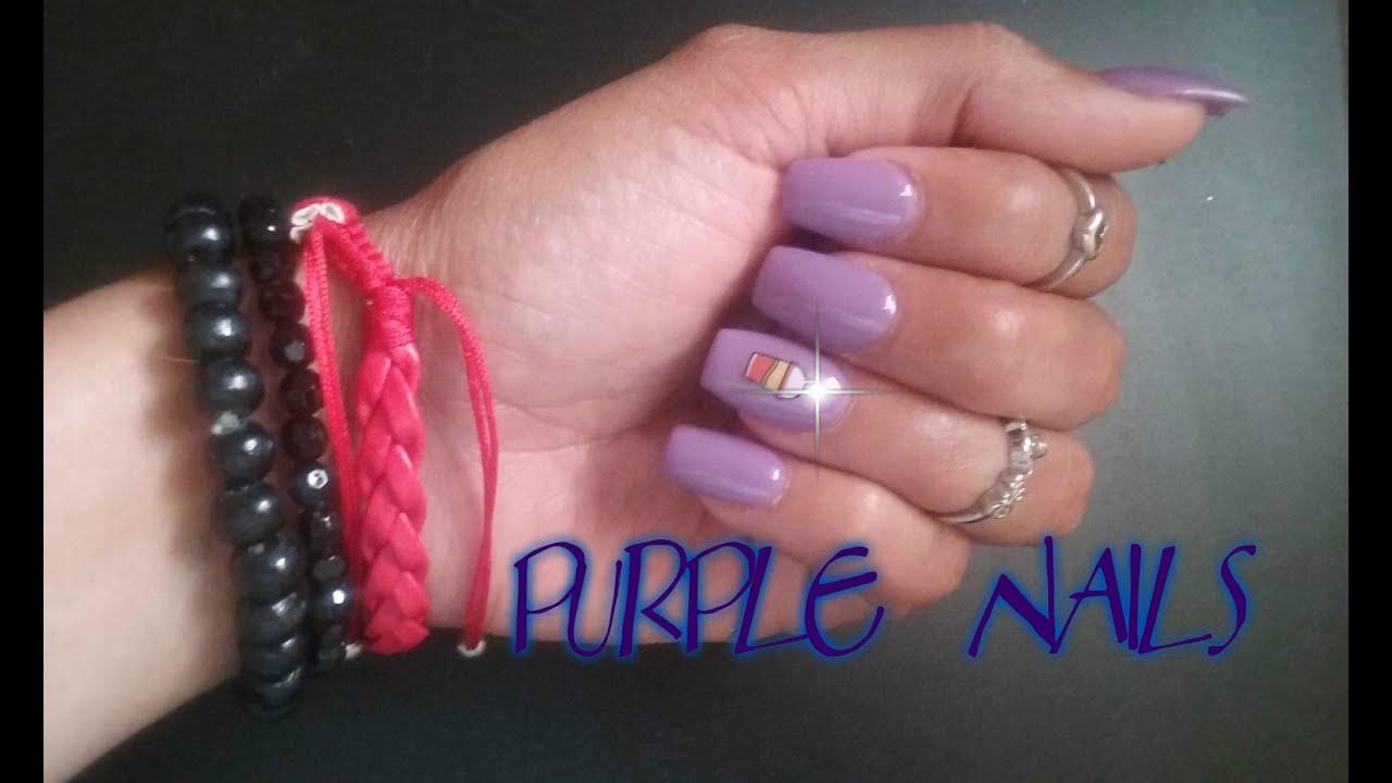 Uñas Color violeta - YouTube