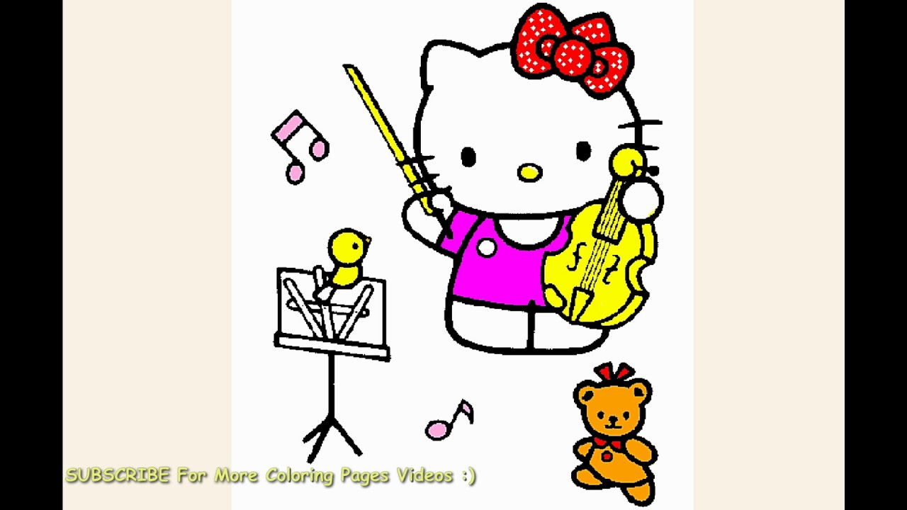Watch hello kitty plays violin music coloring page for toddlers
