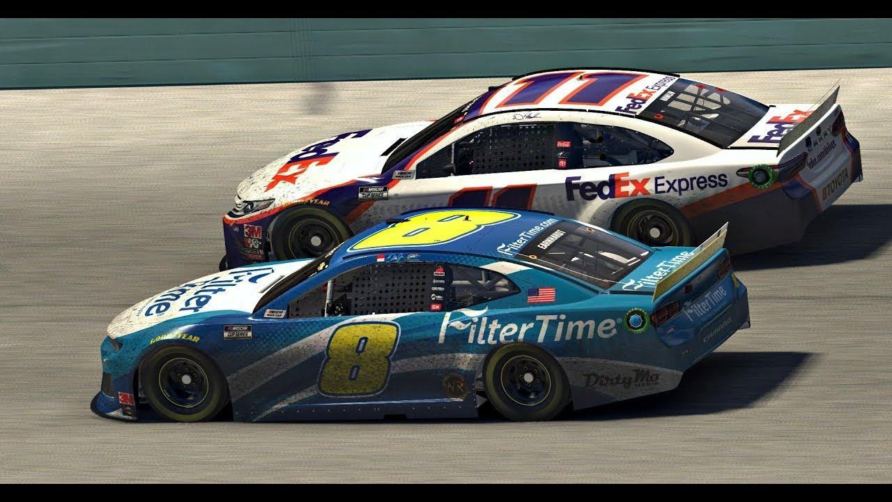 Denny Hamlin bumps Dale Earnhardt Jr., wins NASCAR iRacing event | Homestead-Miami