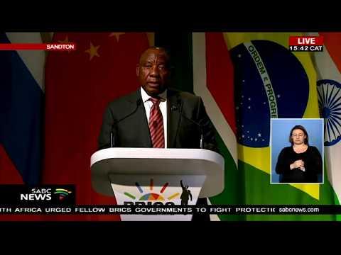 President Cyril Ramaphosa addresses the BRICS Business Forum