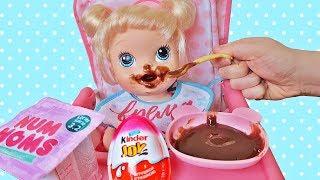 Куклы Пупсики Беби Элайв Аня Кушает. Открываем Сюрпризы Kinder Joy и Num Noms Зырики ТВ
