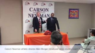 Carson Newman athletic director Allen Morgan introduces cross country coach Tony Parrilla