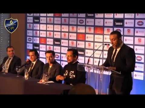 Superstar Ahmed El Sakka speech during Campus Xavi Palm Hills Press Conference