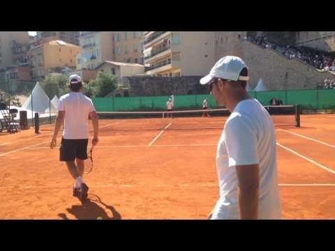 Rafael Nadal return practice Ad side Monte Carlo 2017