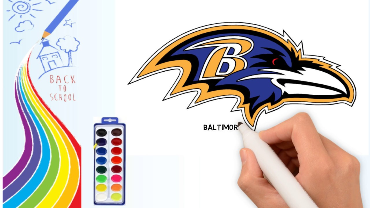 How To Draw Drawing The Baltimore Ravens Logo Coloring Pages For Kids Drawing Logo Channel Youtube