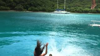 Jumping off the boat at Willy T's (in super slow-mo) in the BVI