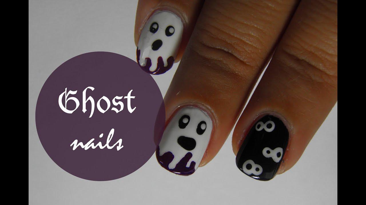 Halloween ghost nail art tutorial youtube prinsesfo Gallery