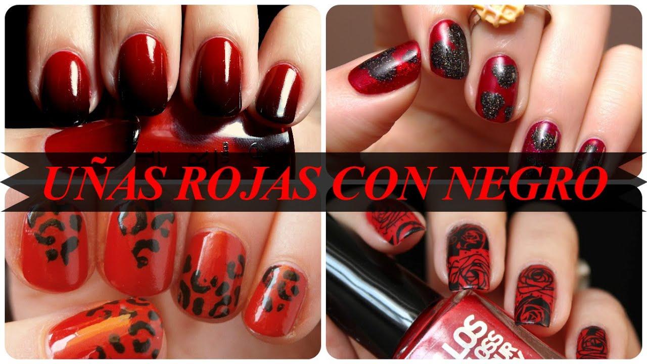Uñas Rojas Con Negro