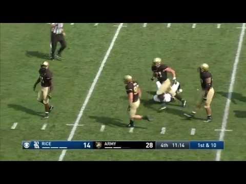 Army Football: Andrew King Sack vs. Rice 9-10-16