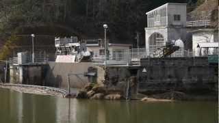阿井川ダム 除塵機作動の様子