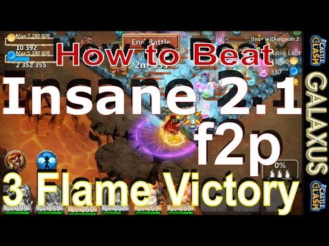 |:|f2p CC Strategy|:|How To Beat Insane Dungeons 2.1 With F2p Heroes Only(Castle Clash)
