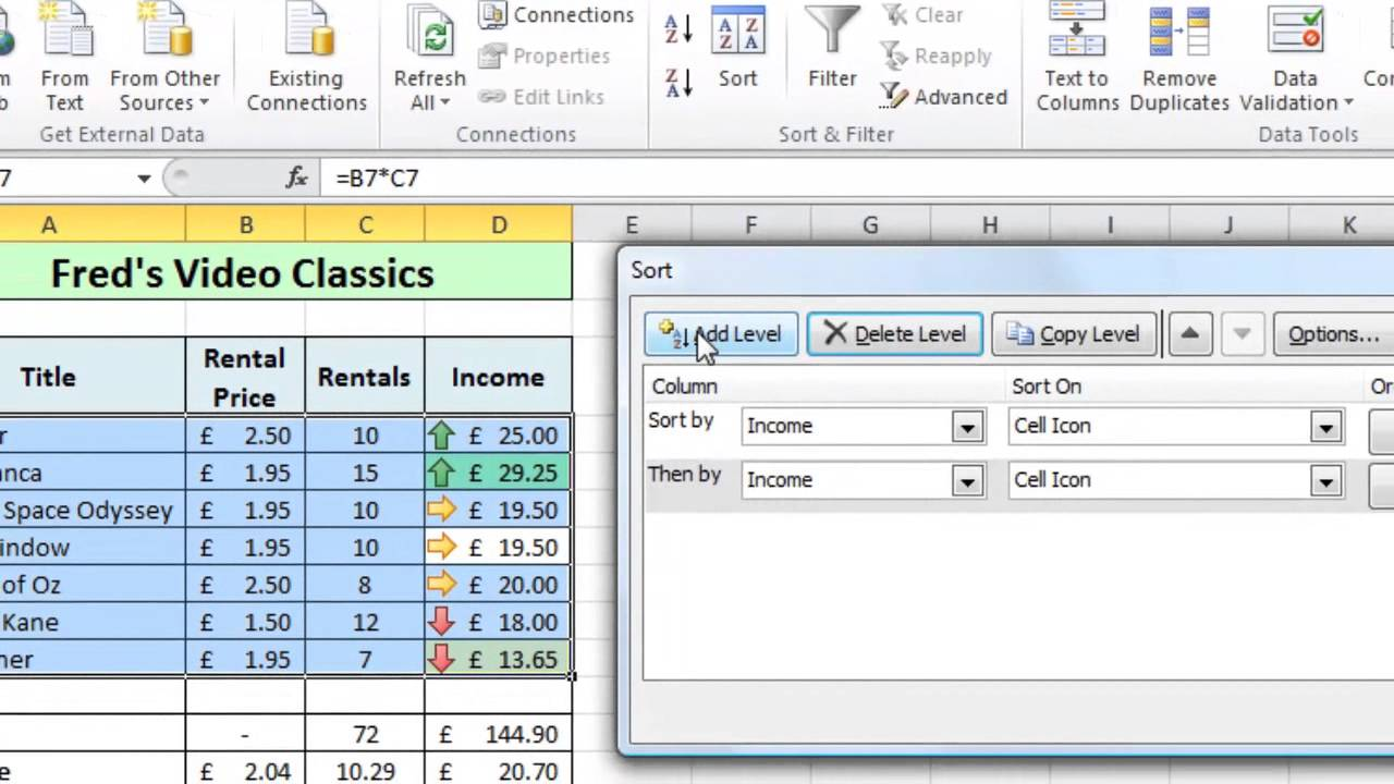 Excel Tip #005 - Sort Data by Color or Icon - Microsoft Excel 2010 ...