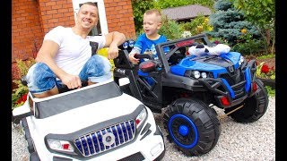 Михаэль с папой собирают джип и квадроцикл! После устраивают гонки