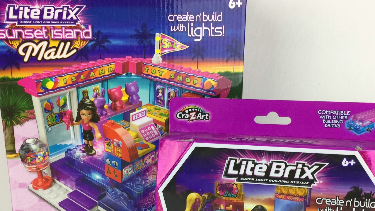 Lite Brix Sunset Island Mall Toy Store and Fashion Kiosk build and ...