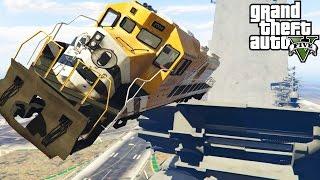 GTA 5 Mods 'TRAIN VS RAMP' (GTA 5 Train Crashes, GTA 5 Ramps And Jumps, GTA 5 Stunts And Fails)