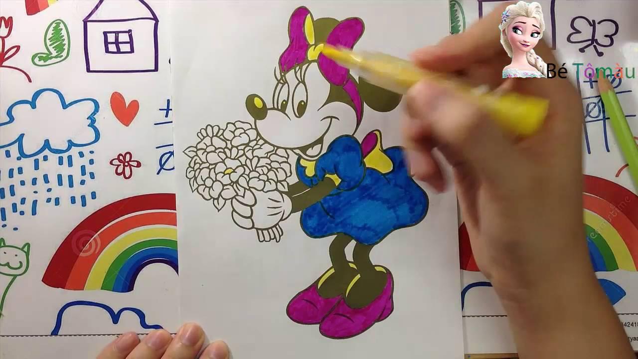 Đồ Chơi Tô Màu Cho Bé | Trò Chơi Tập Vẽ Tranh Chuột Minie | Disney Minnie Mouse Coloring Pages