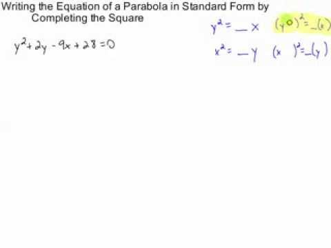Writing The Equation Of A Parabola In Standard Form By Completing