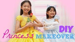PRINCESS BELLE and CINDERELLA MAKEOVER DIY