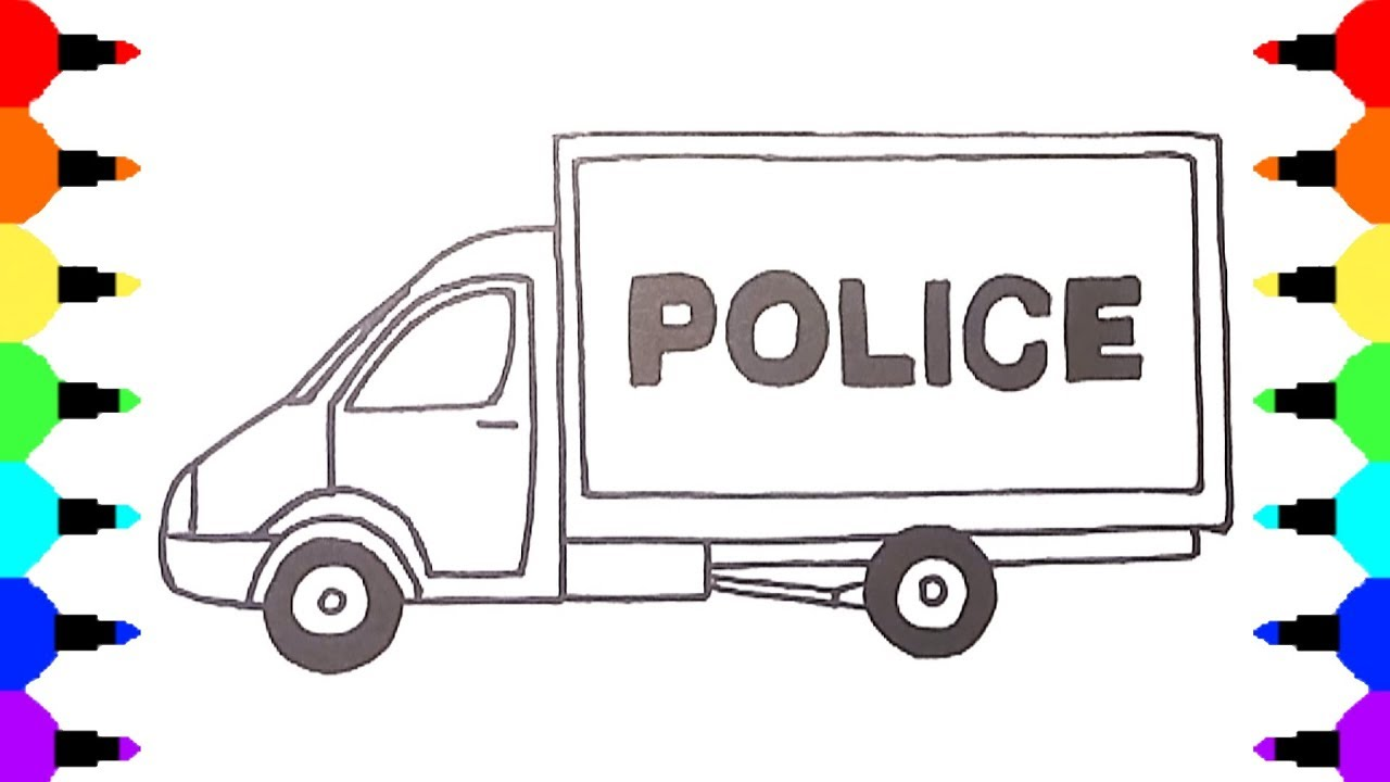 Police Van Coloring Pages, Colors For Kids With Vehicles