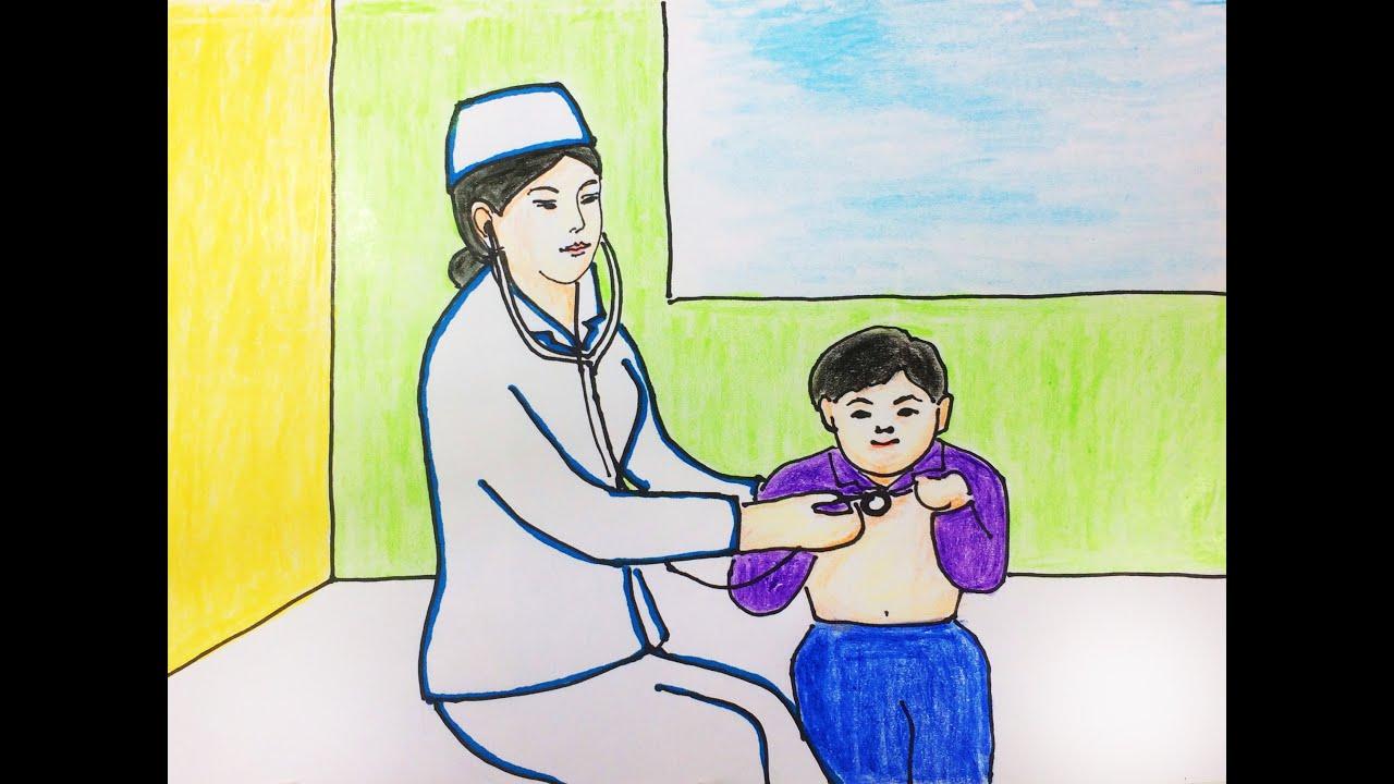 Vẽ tranh đề tài ước mơ của em – Bác Sĩ