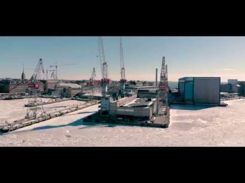 Drone flying over Helsinki  for four season
