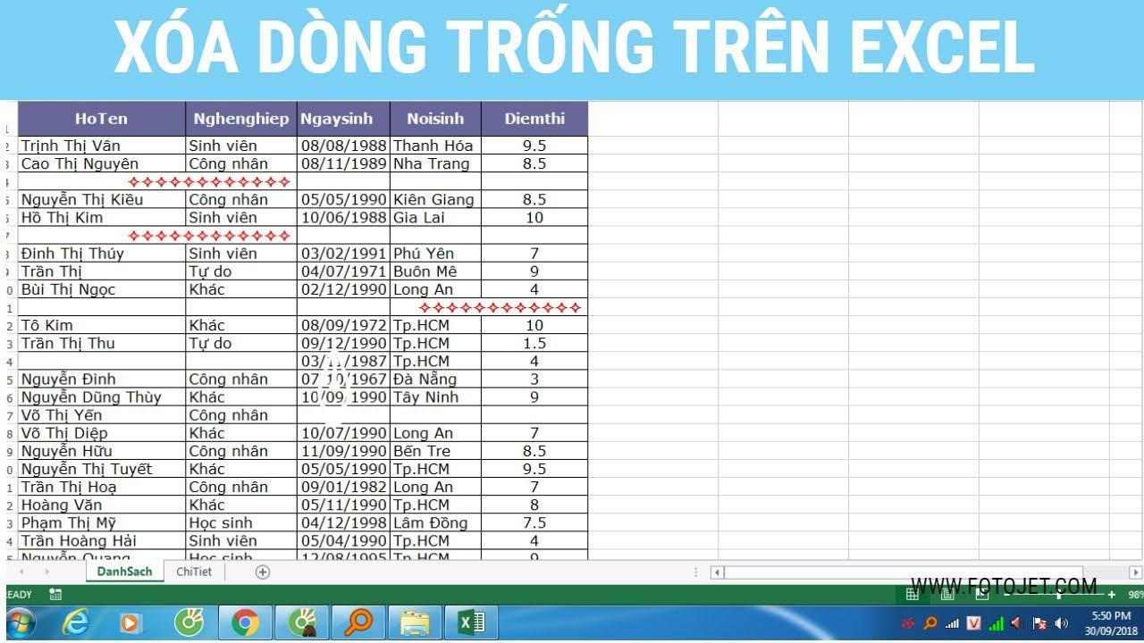 Cách xóa dòng trống trên Excel   Thủ thuật Excel