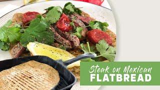 Sirloin Steak on Mexican Flatbread with Guacamole