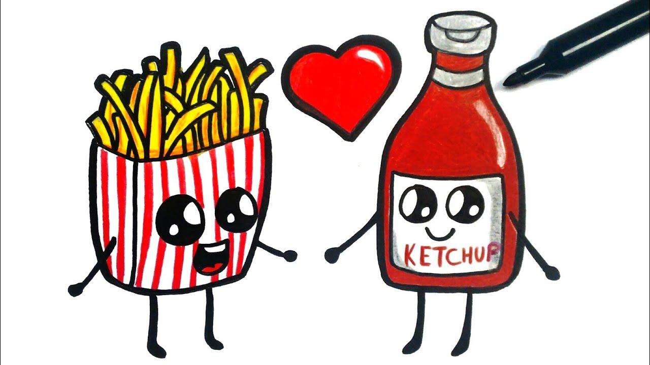 How To Draw French Fries Como Desenhar Batata Frita Youtube