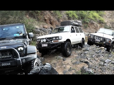 crazy toyota land cruiser 80, jeep wrangler jk and nissan patrol