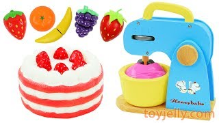 Strawberry Cake Squishy Blender & Mixer Kitchen Playset Baby Toys Play Doh Learn Colors for Kids