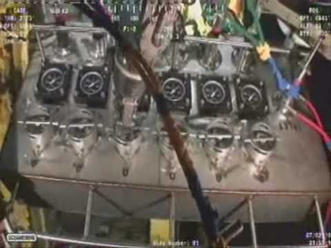 BP Oil Spill - ROVs attach Hydraulic Jacks at FlexJoint