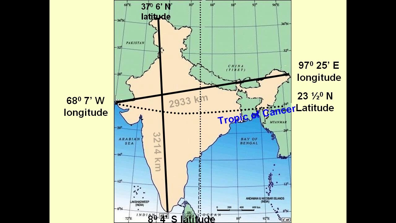 INDIA LENGTH BREADTH TROPIC OF CANCER STANDARD MERIDIAN