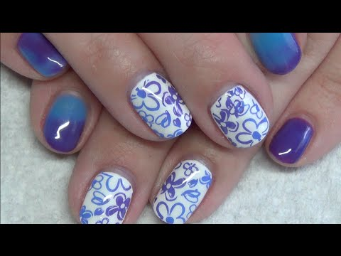 blue  purple flower nail stamping design  color changing