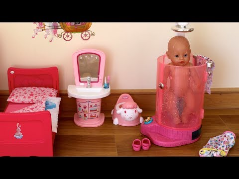 Thumbnail: Baby Born Rain Fun Shower and Interactive Bath! Baby Born Baby Annabell Evening Bedtime Routine