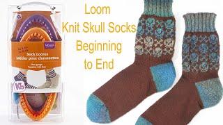 Skull Socks on the KB His and Her Sock Loom Full Pattern