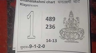 KALYAN DHANLAXMI CHART FREE 100% FIX GAME DATE-16/03/20 TO 21/03/20
